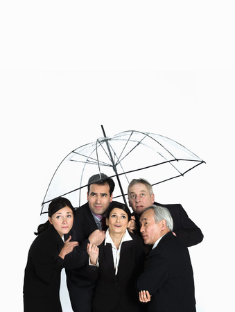 survives: A business group under a clear umbrella LANG_EVOIMAGES