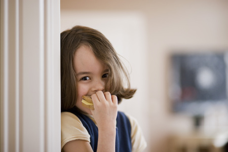 timidity: girl eating sandwich