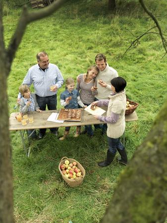 Gente, comer, applecake, cesta