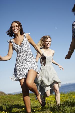 pursuing: three girls running
