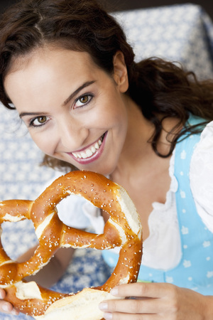 Young Woman With Huge Pretzel