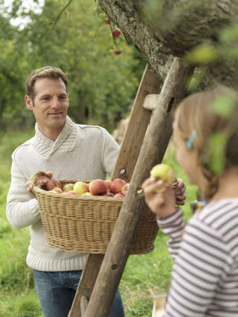 selections: Man looking at girl while picking apples