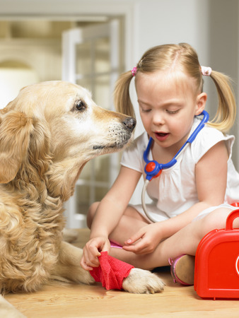 enclose: Girl playing doctor with dog LANG_EVOIMAGES