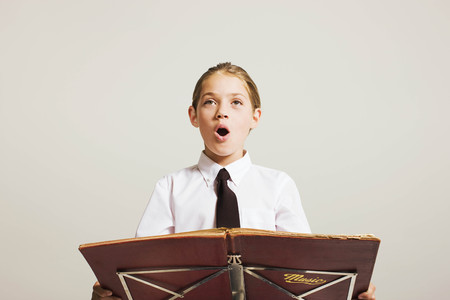 musically: school girl singing