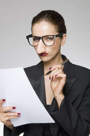 dressups: Female as business woman with fake nose