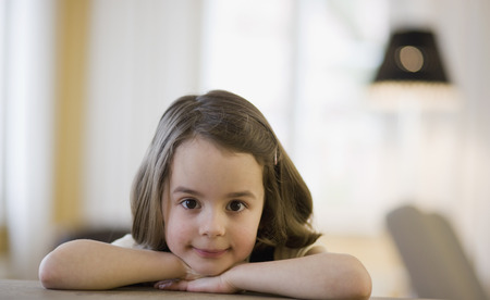worktops: young girl looking at viewer