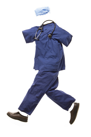 caregivers: A nurses outfit running
