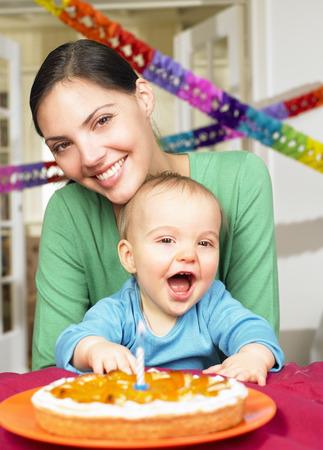 shrieking: Mother and baby boy, celebrating