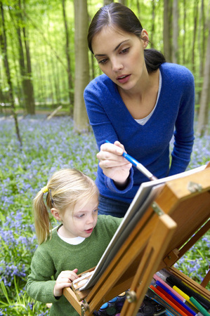 Mother and daughter painting, outdoors LANG_EVOIMAGES
