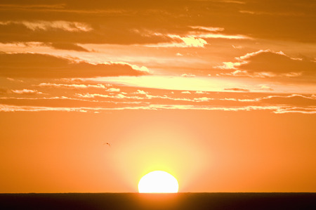 A sun setting against an orange sky LANG_EVOIMAGES