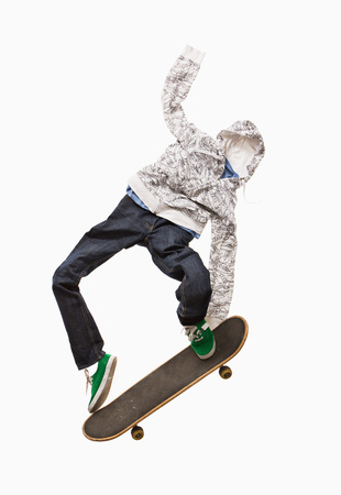 A skateboarder made out of clothing