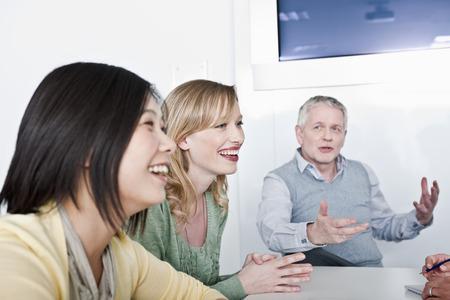 motioning: happy informal group meeting