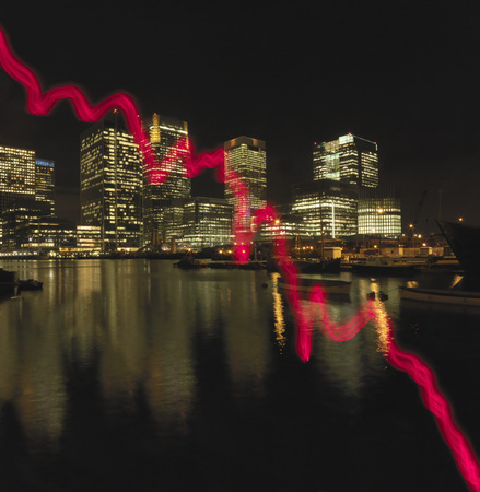 indebted: Red graph drawn across office buildings LANG_EVOIMAGES