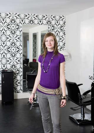 chic woman: Portrait female hairdresser
