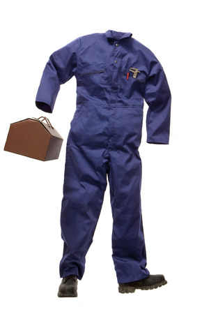 human likeness: A Workmans suit with tool box LANG_EVOIMAGES