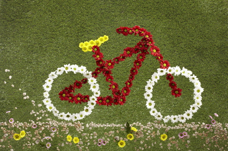 whimsy: A bike made out of flowers set on grass