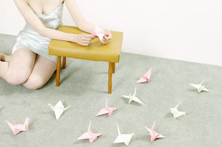 egglayer: woman making origami swans LANG_EVOIMAGES