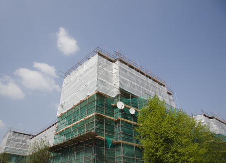 Scaffolding with satellite dishes