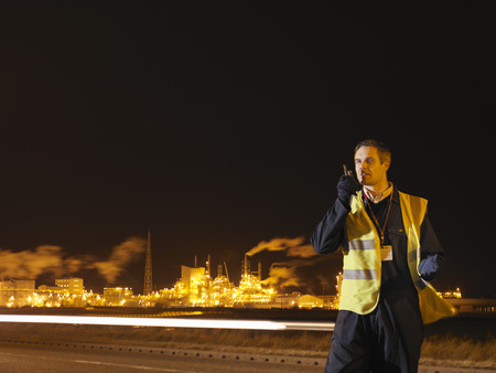 Port Worker Outside At Night