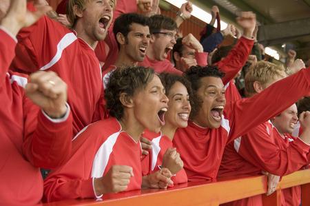 Fans celebrating at football match LANG_EVOIMAGES