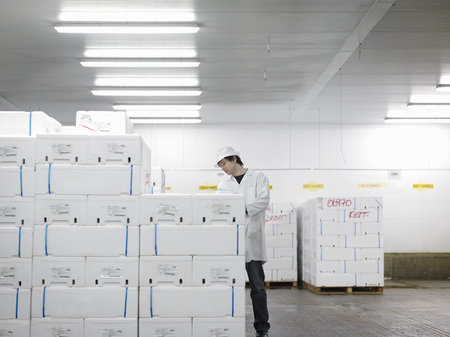 omnivore: Worker With Packaged Fish In Market