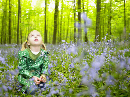spiritual beings: Girl looking up, in the woods LANG_EVOIMAGES