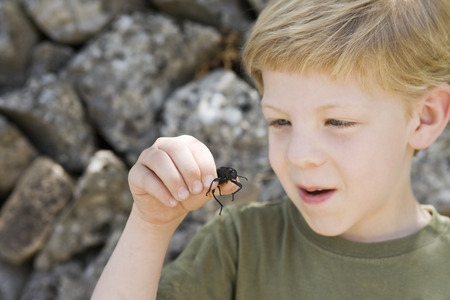 A headshot of a boy with a beetle LANG_EVOIMAGES