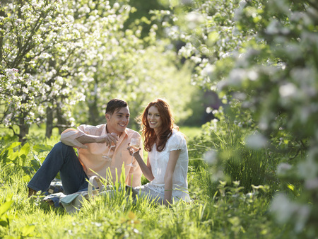 Couple Having Picnic In Orchard LANG_EVOIMAGES