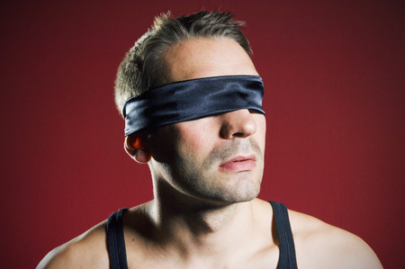 man with blindfold