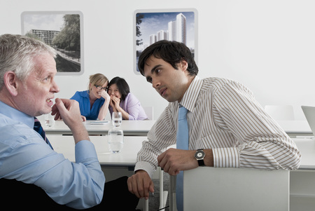 comically: meeting with women whispering