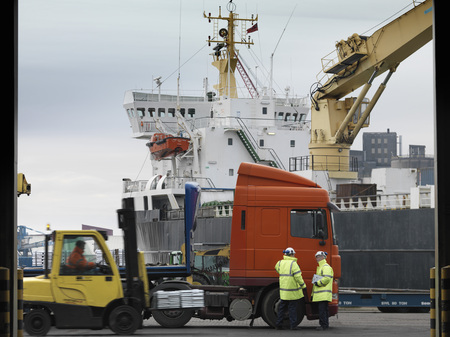 Port Workers With Lorry & Ship LANG_EVOIMAGES