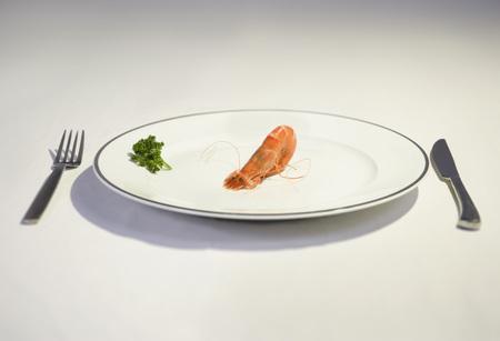 cowering: prawn cowering on plate