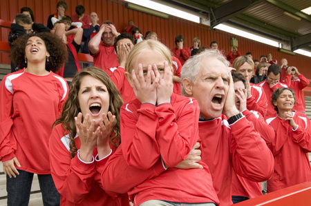 exasperation: Despairing Fans at football match
