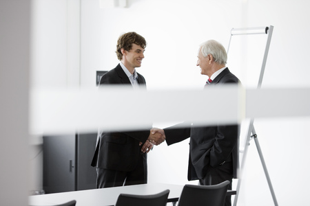 agrees: two businessmen in meeting room