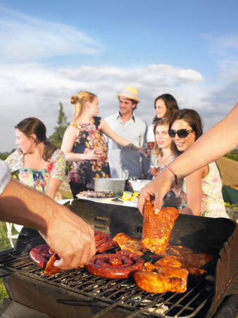 egglayer: young people having barbecue