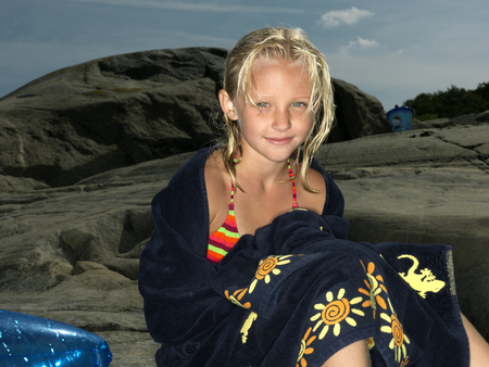 saturating: Girl wrapped in a towel
