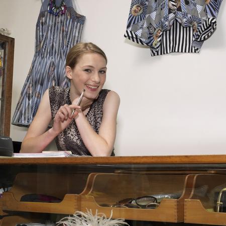 pubescent: Young female shop assistant
