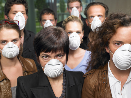 conforms: Group of people wearing protection masks