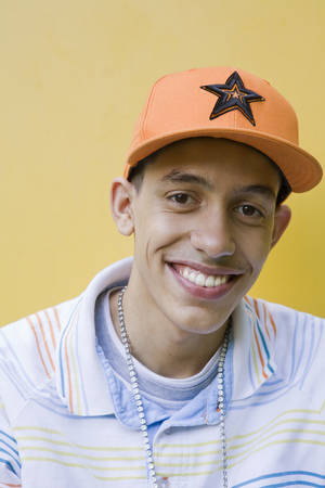 singularity: Mixed race Teenager with cap and chain