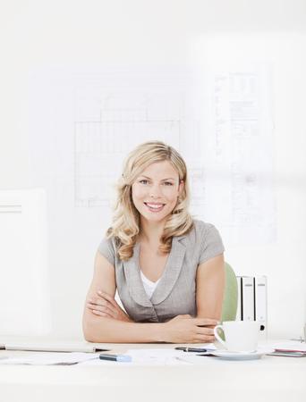 rejoices: Portrait of businesswoman
