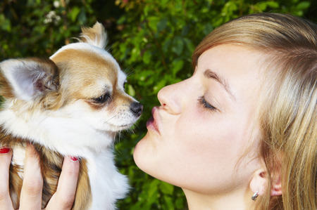 smooching: Woman and her Chihuahua