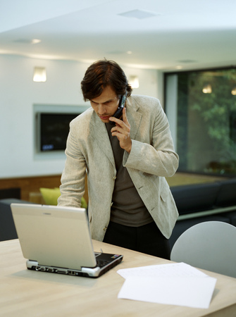 telecommuter: A young trendy male works from home LANG_EVOIMAGES