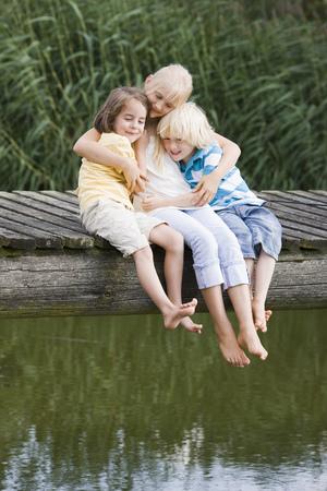 shoeless: children on footbridge
