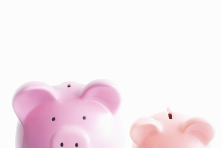 monies: Piggy banks on white