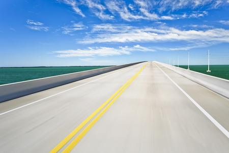 Empty road bridge (blurred motion)