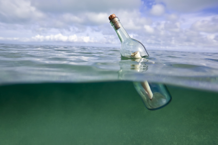 survives: Message in a bottle floating in ocean LANG_EVOIMAGES
