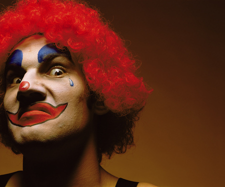 confrontational: sinister looking clown