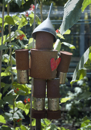 safeguarded: A tin man hanging in a garden