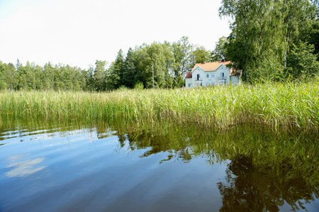 Lake in front of a house