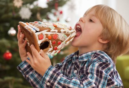 boy eating gingerbread house